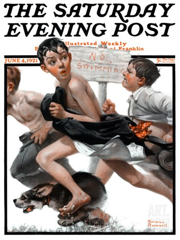 """No Swimming"" Saturday Evening Post Cover, June 4,1921 Stretched Canvas Print"