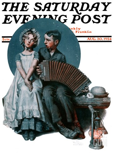 """Accordionist"" or ""Serenade"" Saturday Evening Post Cover, August 30,1924 Stretched Canvas Print"