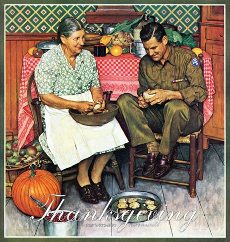 """Home for Thanksgiving"", November 24,1945 Stretched Canvas Print"