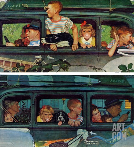 """Outing"" or ""Coming and Going"", August 30,1947 Stretched Canvas Print"