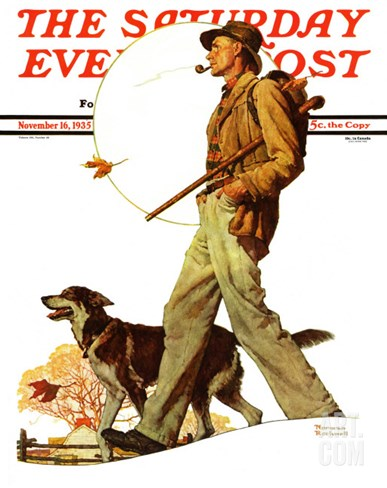 """Autumn Stroll"" Saturday Evening Post Cover, November 16,1935 Stretched Canvas Print"