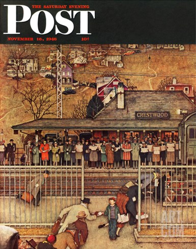 """Commuters"" (waiting at Crestwood train station) Saturday Evening Post Cover, November 16,1946 Stretched Canvas Print"