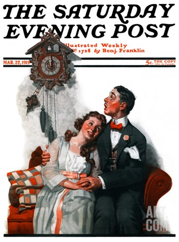"""Courting under the Clock at Midnight"" Saturday Evening Post Cover, March 22,1919 Stretched Canvas Print"