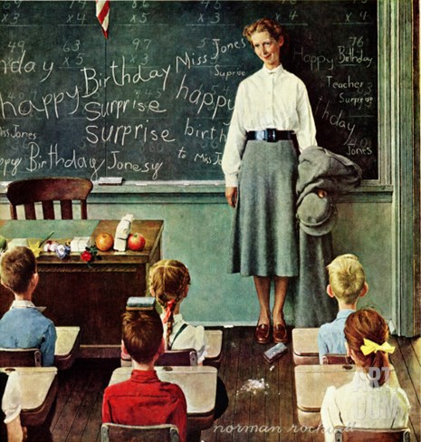 """Happy Birthday, Miss Jones"" Saturday Evening Post Cover, March 17,1956 Stretched Canvas Print"