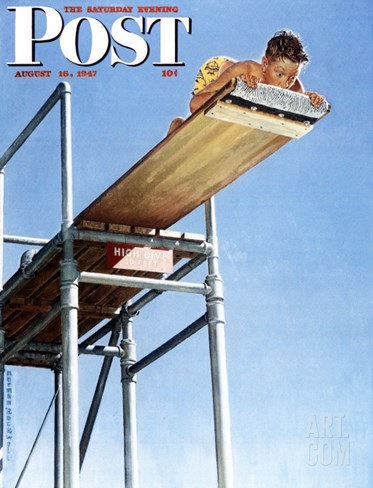 """Boy on High Dive"" Saturday Evening Post Cover, August 16,1947 Stretched Canvas Print"