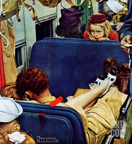 """""""Travel Experience"""", August 12,1944 Stretched Canvas Print"""