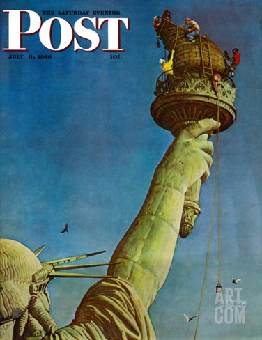 """Working on the Statue of Liberty"" Saturday Evening Post Cover, July 6,1946 Stretched Canvas Print"