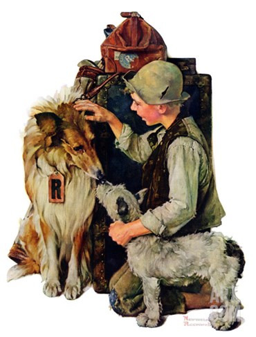 """Making Friends"" or ""Raleigh Rockwell"", September 28,1929 Stretched Canvas Print"