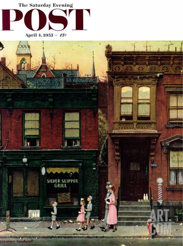 &quot;Walking to Church&quot; Saturday Evening Post Cover, April 4,1953 Stretched Canvas Print