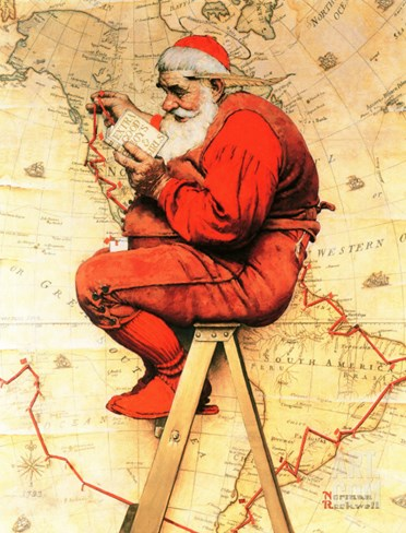 """Santa at the Map"", December 16,1939 Stretched Canvas Print"
