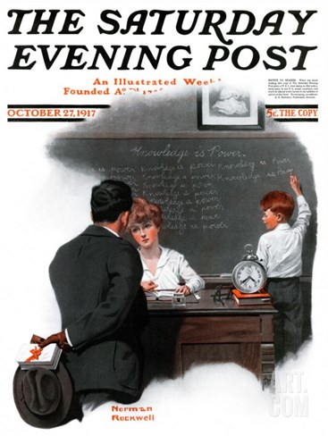 """Knowledge is Power"" Saturday Evening Post Cover, October 27,1917 Stretched Canvas Print"