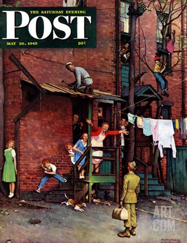 """Homecoming G.I."" Saturday Evening Post Cover, May 26,1945 Stretched Canvas Print"