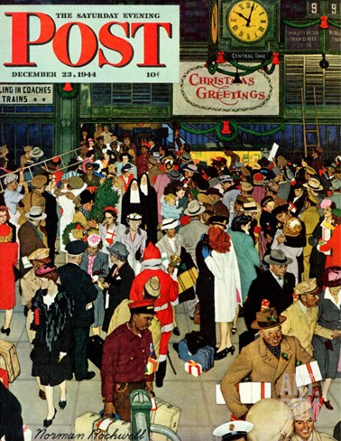 """Union Train Station, Chicago, Christmas"" Saturday Evening Post Cover, December 23,1944 Stretched Canvas Print"