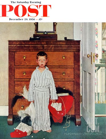 """Truth about Santa"" or ""Discovery"" Saturday Evening Post Cover, December 29,1956 Stretched Canvas Print"