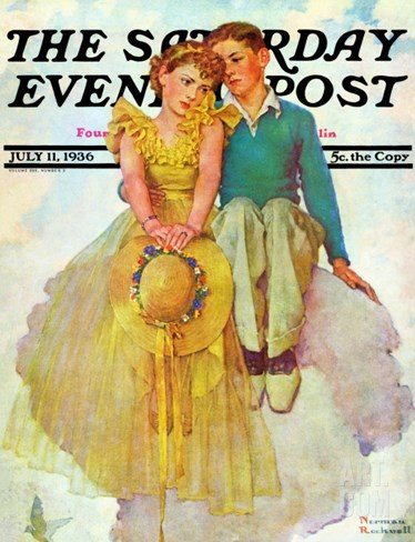 """On Top of the World"" Saturday Evening Post Cover, July 11,1936 Stretched Canvas Print"