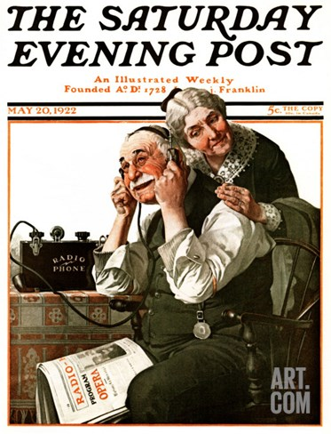 """Wonders of Radio"" or ""Listen, Ma!"" Saturday Evening Post Cover, May 20,1922 Stretched Canvas Print"
