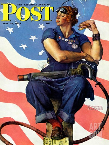 """Rosie the Riveter"" Saturday Evening Post Cover, May 29,1943 Stretched Canvas Print"