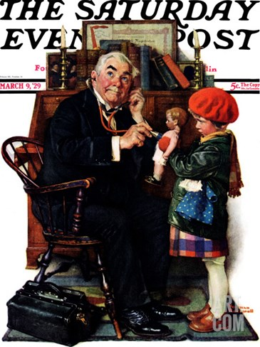 """Doctor and the Doll"" Saturday Evening Post Cover, March 9,1929 Stretched Canvas Print"