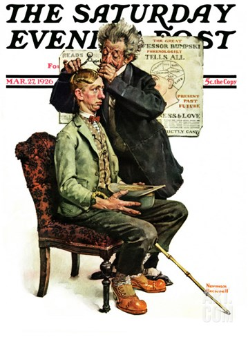 """Phrenologist"" Saturday Evening Post Cover, March 27,1926 Stretched Canvas Print"