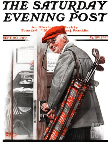 """Important Business"" Saturday Evening Post Cover, September 20,1919 Stretched Canvas Print"