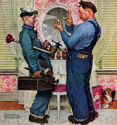 """""""Plumbers"""", June 2,1951 Stretched Canvas Print"""