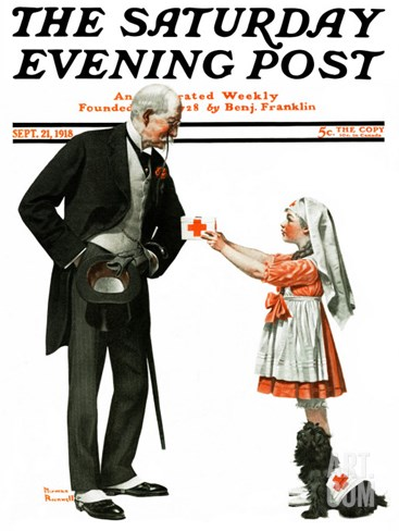 """Giving to Red Cross"" Saturday Evening Post Cover, September 21,1918 Stretched Canvas Print"
