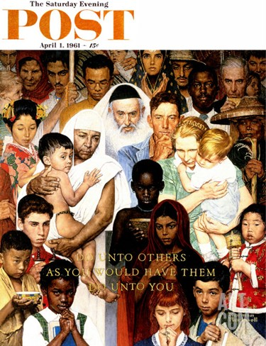 """Golden Rule"" (Do unto others) Saturday Evening Post Cover, April 1,1961 Stretched Canvas Print"