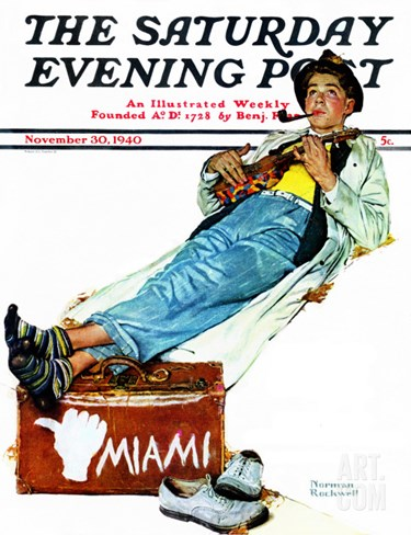 """Hitchhiker to Miami"" Saturday Evening Post Cover, November 30,1940 Stretched Canvas Print"