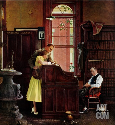 """Marriage License"" Saturday Evening Post Cover, June 11,1955 Stretched Canvas Print"