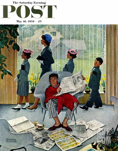 """Sunday Morning"" Saturday Evening Post Cover, May 16,1959 Stretched Canvas Print"