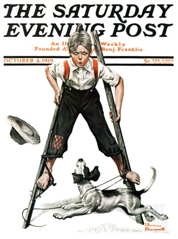 """Boy on Stilts"" Saturday Evening Post Cover, October 4,1919 Stretched Canvas Print"