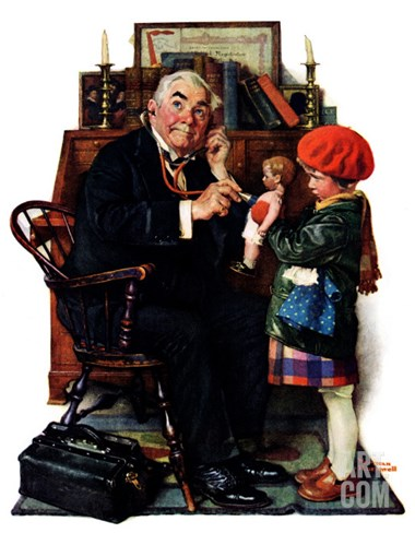 """Doctor and the Doll"", March 9,1929 Stretched Canvas Print"