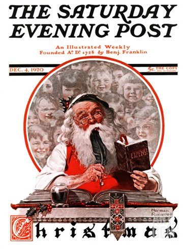 """Santa's Expenses"" Saturday Evening Post Cover, December 4,1920 Stretched Canvas Print"