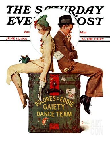 """Gaiety Dance Team"" Saturday Evening Post Cover, June 12,1937 Stretched Canvas Print"