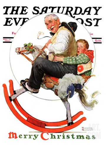 """Gramps on Rocking Horse"" Saturday Evening Post Cover, December 16,1933 Stretched Canvas Print"