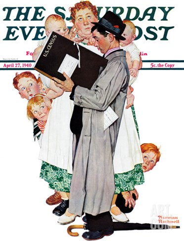 """""""Census-taker"""" Saturday Evening Post Cover, April 27,1940 Stretched Canvas Print"""