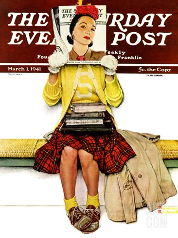 """Cover Girl"" Saturday Evening Post Cover, March 1,1941 Stretched Canvas Print"