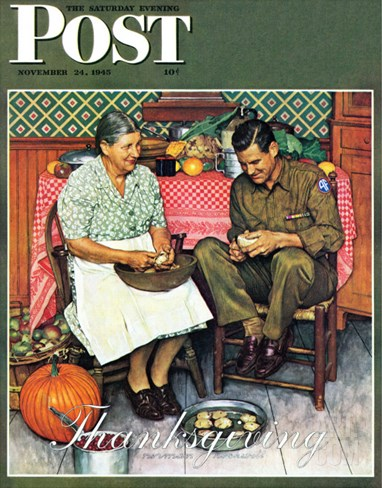 """Home for Thanksgiving"" Saturday Evening Post Cover, November 24,1945 Stretched Canvas Print"