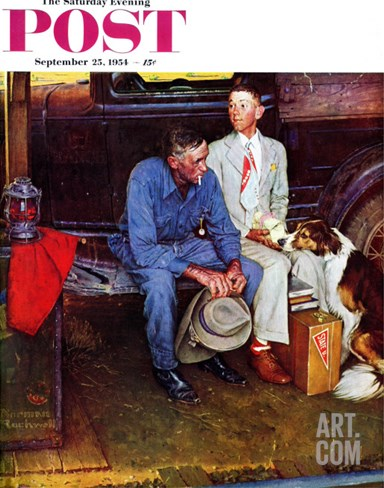 """Breaking Home Ties"" Saturday Evening Post Cover, September 25,1954 Stretched Canvas Print"