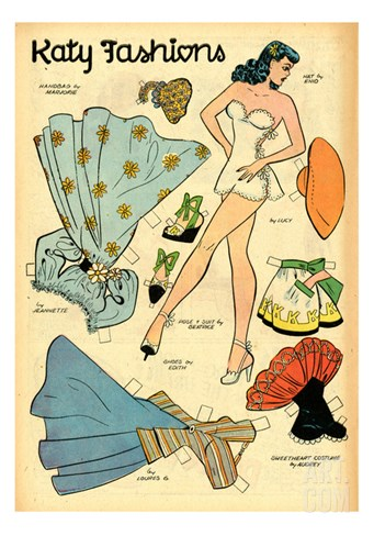 Archie Comics Retro: Katy Keene Fashions (Aged) Stretched Canvas Print