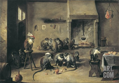Monkeys in the Kitchen Stretched Canvas Print