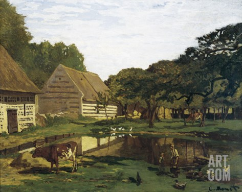 A Farmyard in Normandy Stretched Canvas Print