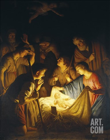 Adoration of the Shepherds (Adoration of the Shepherds) Stretched Canvas Print