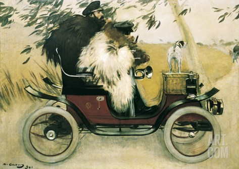 Ramon Casas and Pere Romeu in an Automobile Stretched Canvas Print