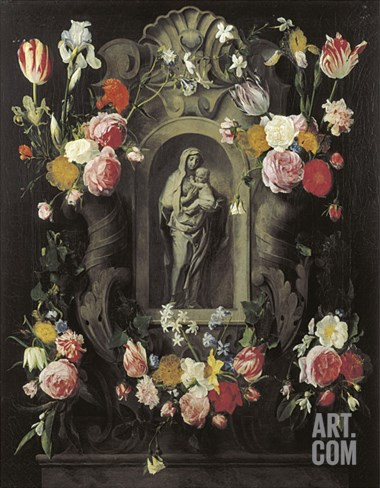 Floral Wreath with Madonna and Child Stretched Canvas Print