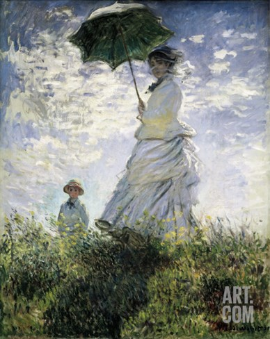 Woman with a Parasol - Madame Monet and Her Son Stretched Canvas Print