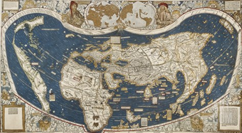 Universal Map, Belonging to the Work Cosmographiae Introductio (1507) Stretched Canvas Print