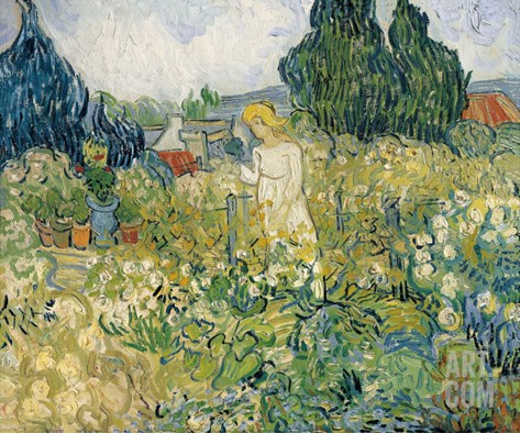 Mademoiselle Gachet in Her Garden at Auvers-Sur-Oise (Mademoiselle Gachet Stretched Canvas Print