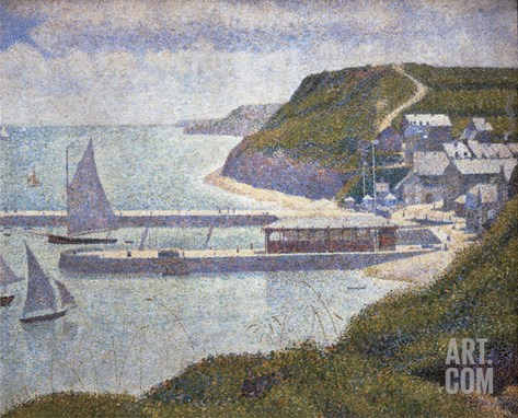 Harbour at Port-En-Bessin at High Tide Stretched Canvas Print