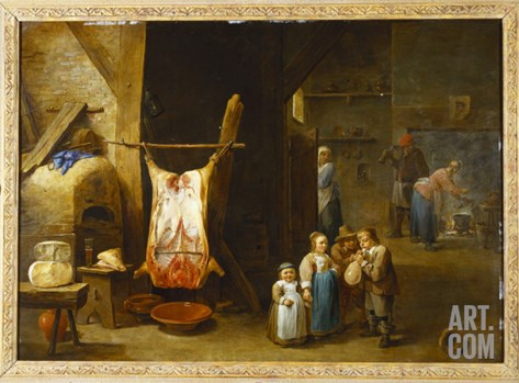 The Interior of a Peasant's Cottage with a Pig's Carcass and a Boy Blowing Up a Bladder, 1646 Stretched Canvas Print